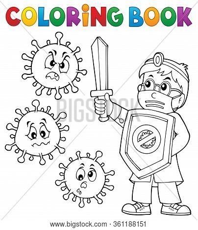 Coloring Book Doctor Fighting Virus 1 - Eps10 Vector Picture Illustration.