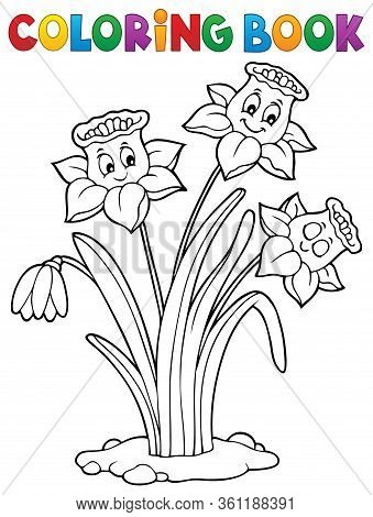 Coloring Book Narcissus Flower Image 1 - Eps10 Vector Picture Illustration.