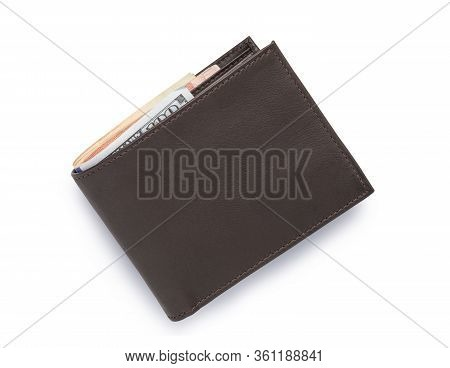 Top View Of Isolated Genuine Leather Brown With Many Banknotes On White Background. Cash Concept And