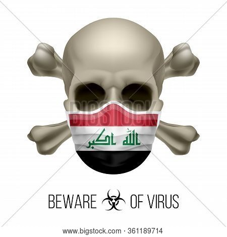 Human Skull With Crossbones And Surgical Mask In The Color Of National Flag Iraq. Mask In Form Of Th