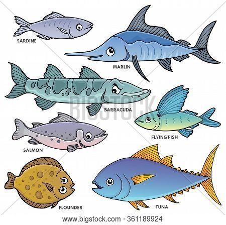 Various Fishes Theme Set 1 - Eps10 Vector Picture Illustration.