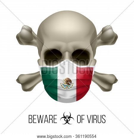 Human Skull With Crossbones And Surgical Mask In The Color Of National Flag Mexico. Mask In Form Of