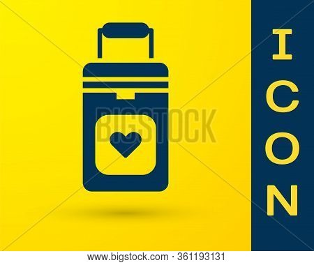 Blue Cooler Box For Human Organs Transportation Icon Isolated On Yellow Background. Organ Transplant