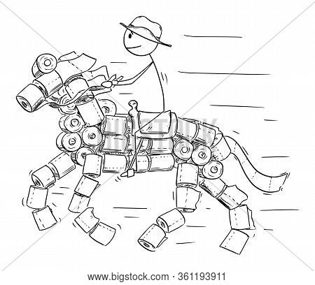 Vector Cartoon Stick Figure Drawing Conceptual Illustration Of Man Or Cowboy Riding On Horse Made Fr