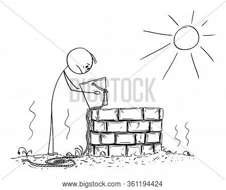 Vector Cartoon Stick Figure Drawing Conceptual Illustration Of Depressed Man Or Farmer Looking In To