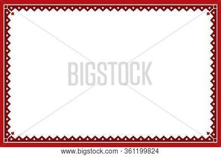 National Ethnic Ornament. Red Geometric Pattern, Frame. Tatar, Kazakh, Bashkir