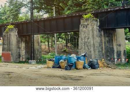 The Area That Dumped Garbage Under The Bridge Of The River Kwai In Kanchanaburi, Thailand. Pollution