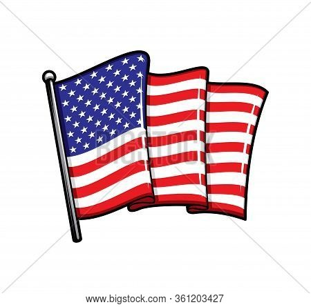 Usa Flag On Flagpole Isolated Heraldic Vector Icon. Waving Folded Canvas With Red Stripes And White