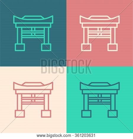 Pop Art Line Japan Gate Icon Isolated On Color Background. Torii Gate Sign. Japanese Traditional Cla