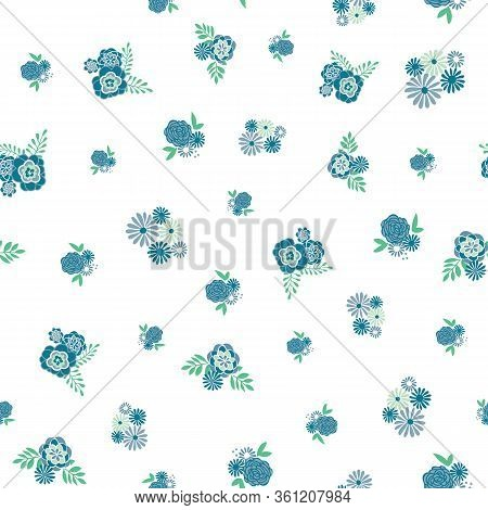 Tonal Floral Vector Repeat With Berries. Perfect For Home, Kids, Stationary, Wrapping, Scrapbooking.