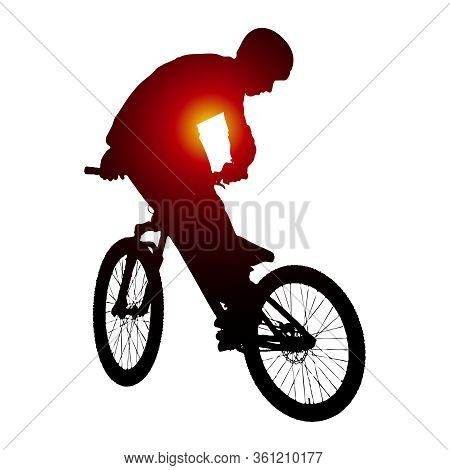 Vector Silhouette Of Biker Doing Trick On Bike.