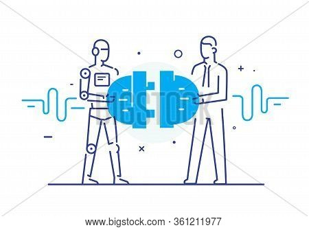 Businessmen And Robot Connect Connectors. Cooperation Interaction. Vector Illustration Eps 10 File.