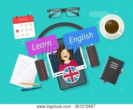 Education Concept Of Learn English Online On Cellular Phone Or Study Foreign Language On Mobile Smar