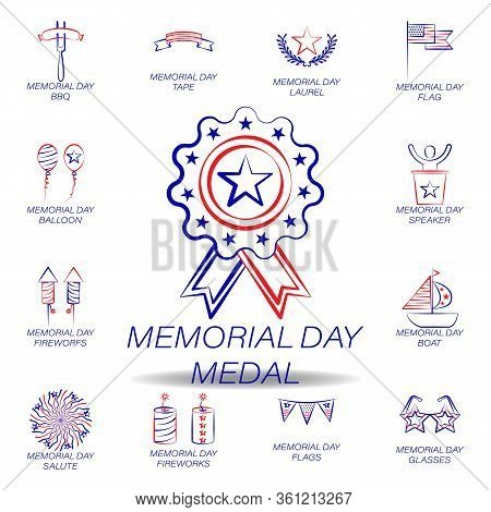 Memorial Day Medal Colored Icon. Set Of Memorial Day Illustration Icon. Signs And Symbols Can Be Use