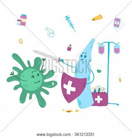 Antivirus Background Vaccine Protects Against Bacteria, Vector Illustration. Flask With Liquid Hold