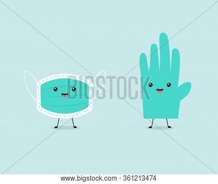 Cute Masker And Medical Gloves Character Light Blue