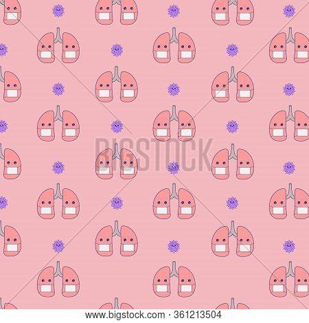 Cute Lungs Pattern Seamless With Masker Corona Virus