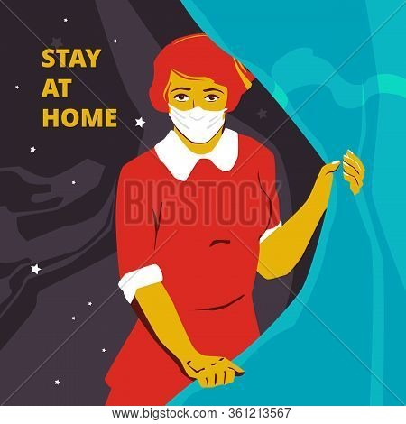 Nurse In A White Mask In The Soviet Style Vintage Style Poster. Vector Propaganda Poster. Vector Tem
