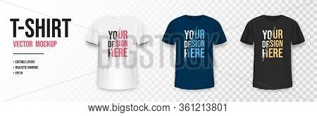 T-shirt Mockup In Black, White And Blue Colors. Mockup Of Realistic T Shirt With Short Sleeves. Set
