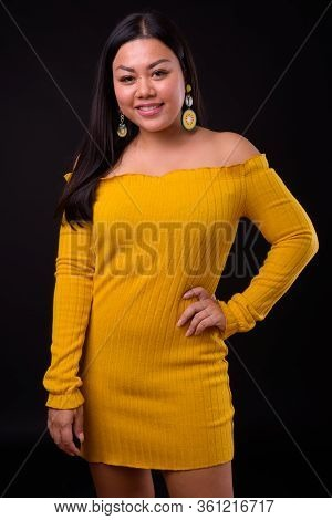 Beautiful Overweight Asian Woman Wearing Off Shoulder Dress