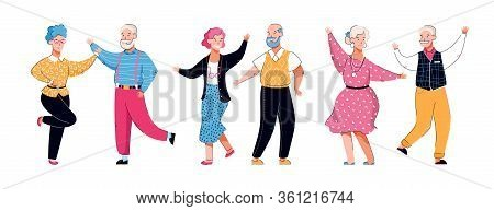 Senior Grandmothers And Grandfathers Dance Cartoon Vector Illustration Isolated.