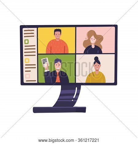 Pc Screen With Online Distant Conference On Monitor With People Participating In Business Meeting Fr