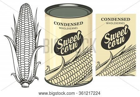 Vector Banner For Canned Sweet Corn With Corn Cob, Label And Tin Can. Label Design With A Contour Dr