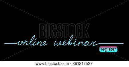 Online Webinar Black Web Banner, Background With Tiktok Colors. Lettering Online Webinar And Registe