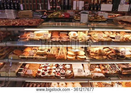 Porto, Portugal - May 24, 2018: Typical Local Bakery And Confectionery Shop In Porto, Portugal. Port