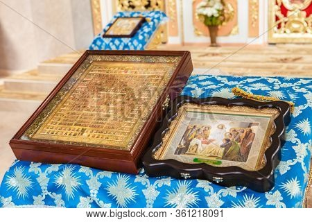 MUKACHEVO, UKRAINE August 31, 2013: icons, holy images, the Bible and church accessories at the Krasnogorsk monastery in honor of all the saints MUKACHEVO, August 31, 2013 UKRAINE