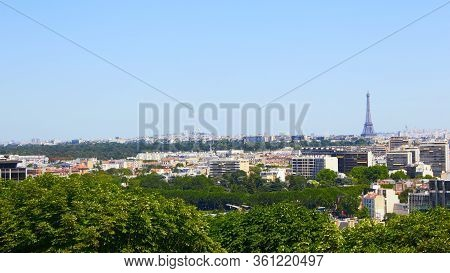 Paris, France - August 26, 2019: Paris From Above Showcasing The Capital Citys Rooftops, The Eiffel