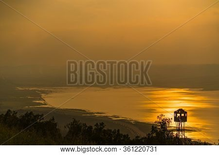 Sunset View At Lam Takhong Dam Reservoir, Nakhon Ratchasima Thailand.