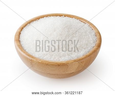 Granulated White Sugar In Wooden Bowl Isolated On White Background With Clipping Path