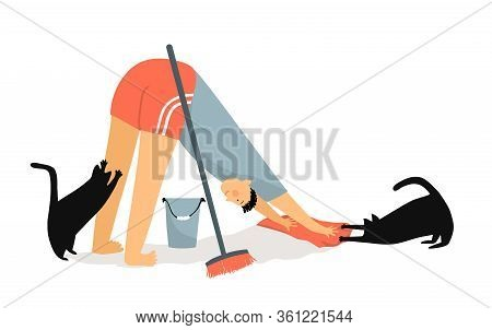 Man And Cats Doing Downward-facing Dog Pose - Asana While Cleaning Floor With Rag Broom And Bucket.