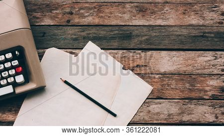 Typewriter, Pensil And Paper On Wooden Background. Author And Writer, Creative Writing Workshop And