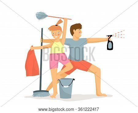 Funny Children Cleaning House Like Warriors. Kids Housework Motivation. Young Boy And Girl With Dust