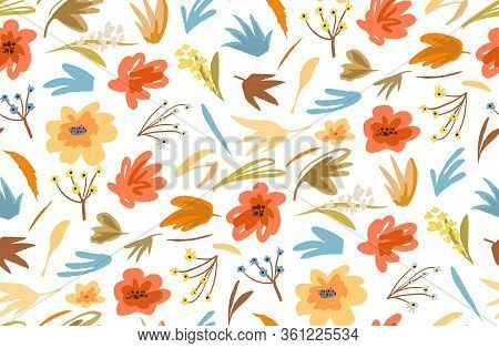 Seamless Pattern Floral And Plants Abstract Hand Drawn Background In Vintage Style For Textile Or Vi