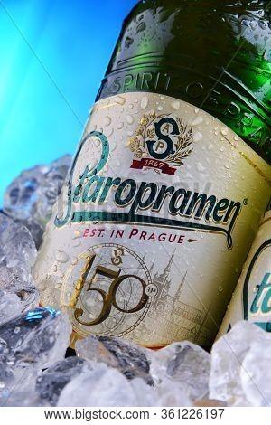 Bottles Of Staropramen Beer In Bucket With Crushed Ice