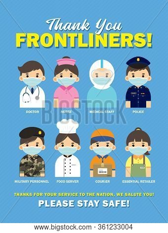 Thank You Frontline Workers Who Work During Coronavirus (covid-19) Outbreak. Cartoon Medical Staff,