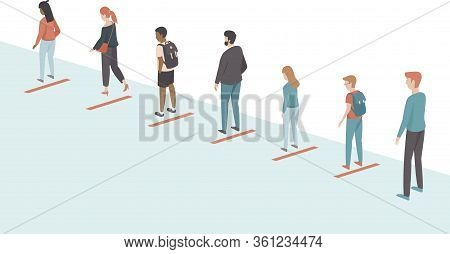 People keeping distance in the queue. Social distancing concept for coronavirus COVID-19 2019-ncov disease oubreak. Flat vector illustration