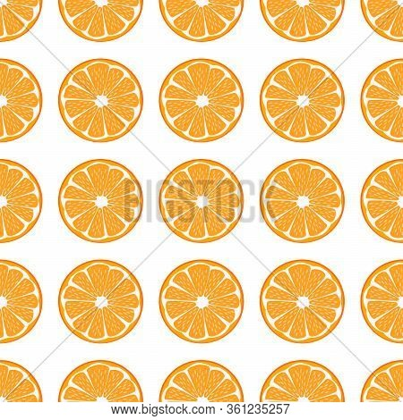 Illustration On Theme Big Colored Seamless Orange, Bright Fruit Pattern For Seal. Fruit Pattern Cons