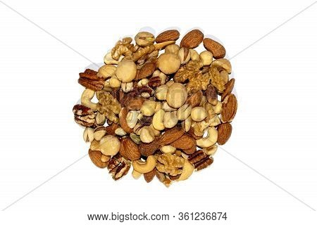 Mixed Nuts Isolated On White Background. Healthy Snack And Food. Salted And Spicy Pistachios, Cashew