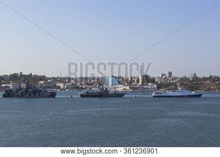 Sevastopol, Crimea, Russia - July 28, 2019: Story Of Warships In The Parade In Honor Of Navy Day In