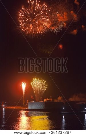 Sevastopol, Crimea, Russia - July 28, 2019: Salute In Honor Of The Navy Day At The Konstantinovsky B