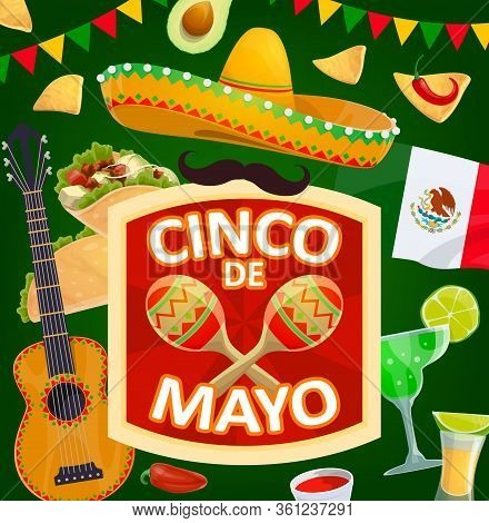 Cinco De Mayo Mexican Holiday Sombrero And Maracas Vector Design. Mexico Fiesta Party Hat, Chili Pep