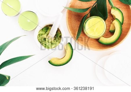Homemade Avocado Mask Hand Made From Fresh Raw Mashed Green Fruit, Face And Skin Care Diy Recipe.  N