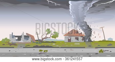 Tornado With Spiral Twists Destroys Houses, Big Dangerous Tornado Destroys Buildings In Residential