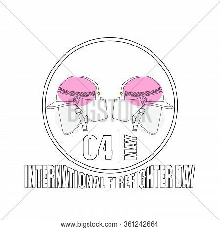 International Firefighter Day Outline Concept Design. Outline Rescue Helmet Design. Rescue Template