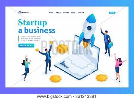 Isometric Business Startup, Businessmen Rejoice Rocket Take-off From Laptop. Landing Page Concepts A