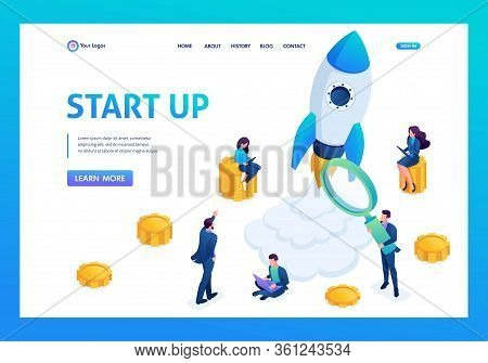 Isometric Concept Of Investing In Startups, Rocket Launch, Young Entrepreneurs. Landing Page Concept